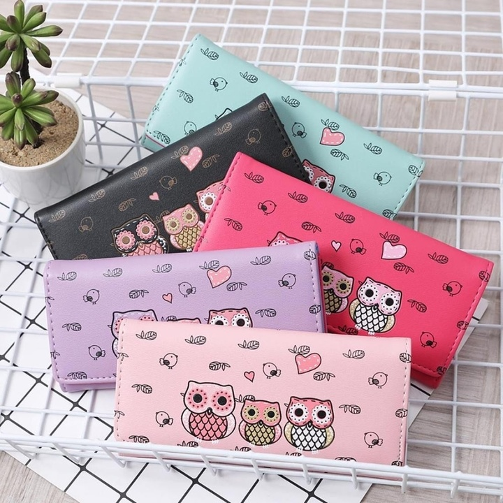 Women Wallets Cute Owl Lady Coin Purse Long Style Money Bags Card Holders Handbag Clutch Bag pink one size