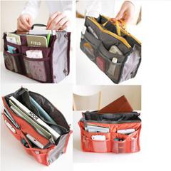 Women's Fashion Bag Nylon Dual Organizer Cosmetic Storage Bag Makeup Casual Travel Handbag Pink One Size
