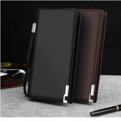 Men's Long Wallet PU Leather Business Leisure Layer of Leather Zipper Wallet Hand Bag Black one size