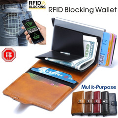 Unisex Anti-scan Leather Case RFID Blocking Wallet ID Credit Card Holder Girlfriend Boyfriend Gifts black one size