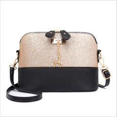 Women Handbag Ladies Shoulder Bag PU Leather Sequins Deer Shell Bag Crossbody Bag Clutch Bag gold one size