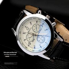 Men's Stainless Steel Round Business Watch Men Quartz Watch Waterproof WristWatch white one size