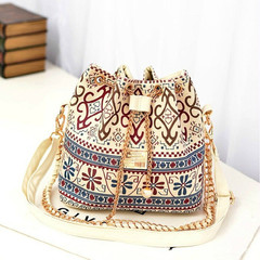 Women's Handbag National Trend Bohemia Style Print Chain Drawstring Bucket Bag Multicolor one size
