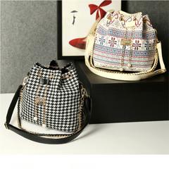 Women's Handbag National Trend Bohemia Style Print Chain Drawstring Bucket Bag black one size