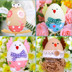 Creative Colorful Plastic Easter Egg Bright Candy Box Gift Party Decor Kids DIY Toy pink&light brown one size
