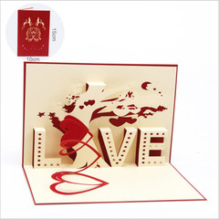 3D Greeting Cards Handmade Paper-cut Folding Card Postcards Mother's Day Gift Birthday Cards Gift red one size