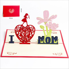 3D Pop Up Greeting Card Handmade Paper Cut Postcard Birthday Mother's Day Party Gift red one size