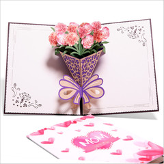3D Carnation Greeting Card Pop Up Paper Cut Postcard Birthday Wedding Easter Mother's Day Gift pink one size