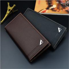 PU Leather Long Wallet Men Zipper Wallets Men Women Money Bag Pocket black one size
