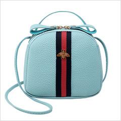 New Women's Bag Lychee Pattern Mini Bag Shoulder Bag Messenger Bag Mobile Phone Bag Crossbody Bag blue one size