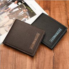 Vintage Men Wallet-Leather Luxury Short Male Clutch Wallet Men Purse black one size
