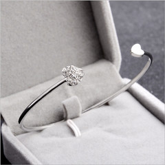 Women's New Fashion Jewelry Adjustable Crystal Double Heart Bow Cuff Opening Bracelet Party Gift silver one size