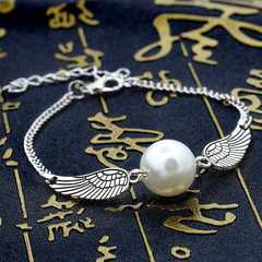 Vintage Women Bracelet Wings Pearl Bracelet Women Party Gift Fashion Jewellery silver one size