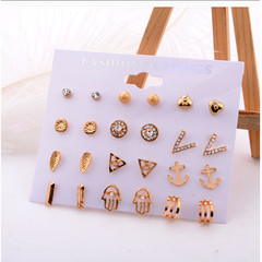 12 Pairs/set Women Girl Simple Cute Elegant Alloy Earrings Jewelry Ladies Crystal Stud Earring Set gold one size