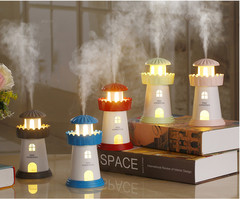2019 New LED Lights Electric Lighthouse Aroma Essential Oil Diffuser Ultrasonic Air Humidifier blue one size