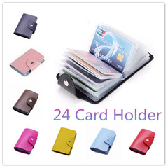 24 Card Slots Women PU Leather Credit Card Holder/Case Card Holder Wallet Business Card Package pink one size