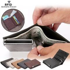 Rfid Blocking Men Wallet Multifunction Aluminum Automatic Card Slot Card Holder Slim Coin Purse black one size