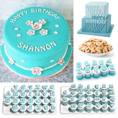 1 Set Durable Cake Tool Fondant Stamp Embossing Mold 26 Letter/10 Numbers Baking DIY 10pcs numbers blue&white