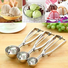 1PC Ice Cream Spoon Stainless Steel Spring Handle Masher Cookie Scoop S as picture