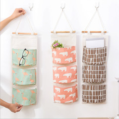 Cotton and Linen Waterproof Storage Hanging Bag Multi - Layer Hanging Pocket Cloth Door Storage Bag white&pink