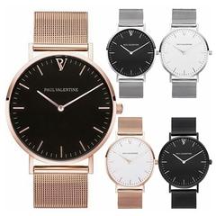 2019 Female Clocks Women Men Luxury Quartz Watch StainlessSteel Watches Minimalist Simple Wristwatch rose gold one size