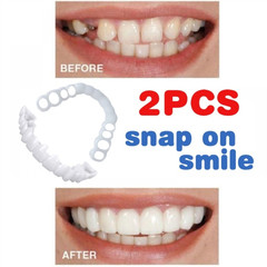 2Pcs New Reusable Adult Snap on Perfect Smile Whitening Denture Fit Cosmetic Teeth Veneer Cover White(Lower Teeth Cover)