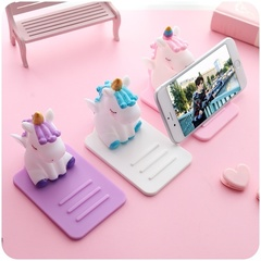 1 PC Cute Anti-Slip Cartoon Unicorn Phone Stand Mobile Phone Holder Support Desk Decor Phone Bracket pink one size