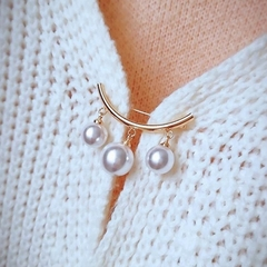 Classic Simulated Imitation Pearl DIY Collar Pins For Shirts Lapel Brooches silver as the picture