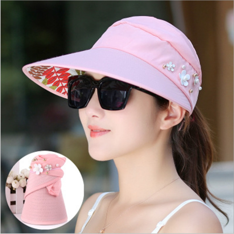 c856fc28 Fashion Sun Hats Sun Visor Hat Sun Hats with Big Heads Beach Hat for ...