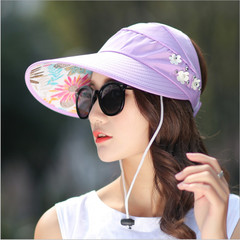 Fashion Sun Hats Sun Visor Hat Sun Hats with Big Heads Beach Hat for Women purple