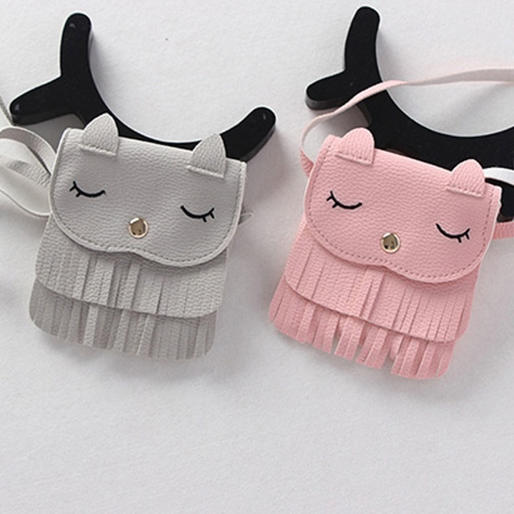 Girls Cute Tassel Small Cat Shoulder Bag Coin Purses PU Leather Handbags Wallet pink one size