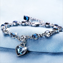 Womens Ladies Crystal Rhinestone Bangle Ocean Blue Bracelet Chain Heart Jewelry blue one size