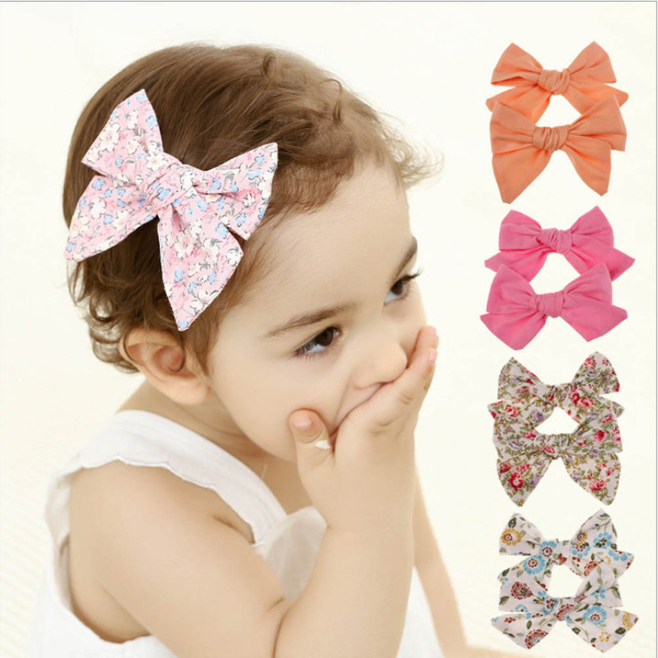 Cute Baby Girls Floral Printed Hair Bows Clips Headbands for Women Girls Kids red flower printed