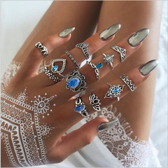 12 Piece/Set New Fashion Sale Party Rings Punk Crystal Wedding Ring Women Men Jewellery Gift silver&blue one size