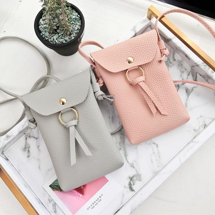 Women's Korean Fashion Leather Sling Bag Mini Cute Diagonal Shoulder Bag pink one size