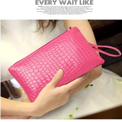 Women's Leather Zip Clutch Bag Coin Wallet Lady Long Purse Bag Handbag Card Holder hot pink one size