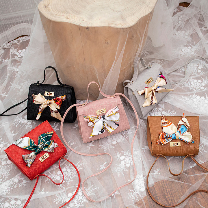 Elegant Women Handbags Cute Bowknot Bags Leather Shoulder Sling Bag Ladies Crossbody Bow Bags pink one size