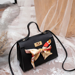Elegant Women Handbags Cute Bowknot Bags Leather Shoulder Sling Bag Ladies Crossbody Bow Bags black one size