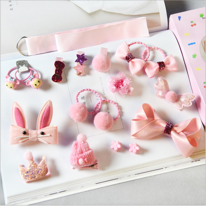 18Pcs/Set Cute Bowknot Kids Girl Hair Clips Pin Bows Hairpin Child Hair Ornaments Hairclip Headdress pink