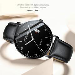 Fashion Casual Mens Watches Luxury Leather Business Quartz-Watch Men's Sport Wristwatch D one size
