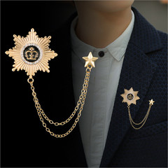 2019 Men Brooch Alloy Fashion 8-Pointed Star Brooch For Party Formal Suits Lapel Pins Brooch gold one size