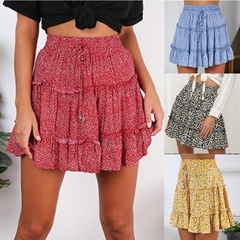 Summer Fashion Floral Print Elastic High Waist Pleated Mini Skirts Women A-Line Beach Dress red S