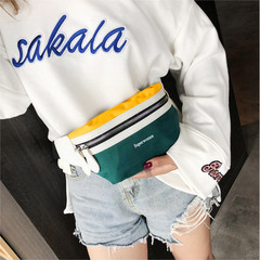 Fashion Women Canvas Waist Bag Leisure Panelled Pack Letter Belt Bag Female Chest Crossbody Bag green one size