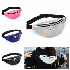 Women's Fashion Bum Camping Hiking Belt Waist Pouch Shining Money Bag Fanny Pack silver one size