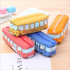Large Capacity Cartoon School Bus Pencil Case Canvas Car Pencil Bag Zipper Bag Fabric Pencil Pouch red