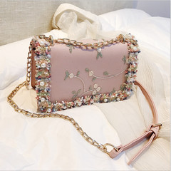 Women's New Flower Embroidered Pearls Leather Shoulder Bag Casual Chain Crossbody Trend Handbag pink one size