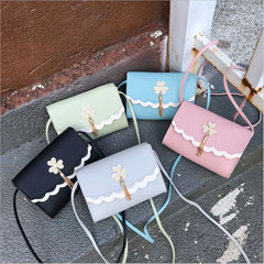 Cute Women Flowers Tassel Leather Crossbody Bags Messenger Shoulder Bag Sling Bag blue 18cm x 13cm x 5cm