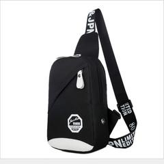 Men's Women's Nylon Sling Messenger Chest Bag Backpack Shoulder Travel Bag black 26cm x 17cm x 8cm