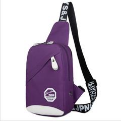 Men's Women's Nylon Sling Messenger Chest Bag Backpack Shoulder Travel Bag purple 26cm x 17cm x 8cm