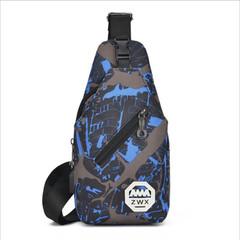 Men's Chest Bag Shoulder Bag Messenger Bag Oxford Cloth Bag Men's Anti-theft Charging Travel Bag blue 31cm x 15cm x 7cm